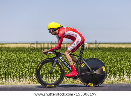 ARDEVON,FRANCE-JUL 10:The French cyclist Guillaume Levarlet from Team Cofidis cycling during the stage 11 (time trial Avranches -Mont Saint Michel) of Le Tour de France on July 10, 2013 - stock photo