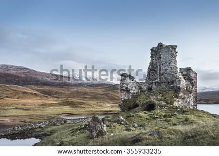 Ardvreck Castle in Sutherland,Scotland - stock photo