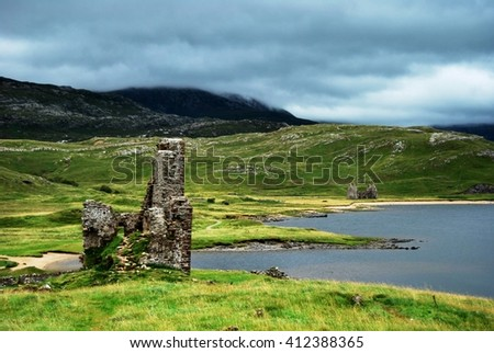 ardvreck castle on a cloudy day - stock photo