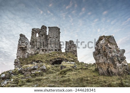 Ardvreck Castle on Loch Assynt in Scotland. - stock photo
