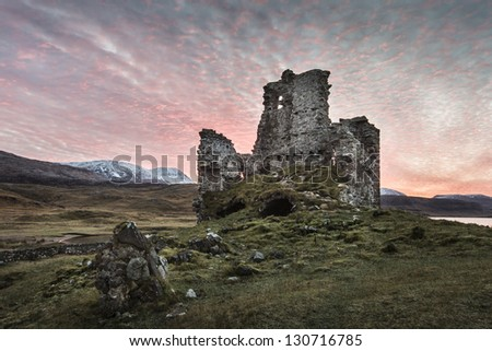 Ardvreck Castle, Sutherland,Scotland - stock photo