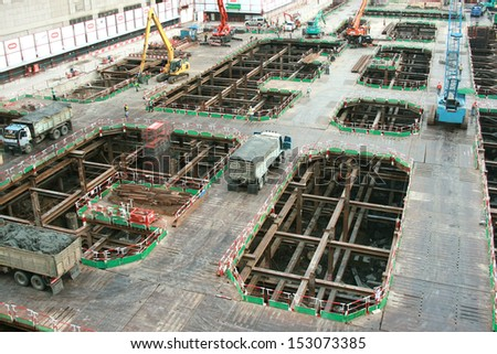 are working at construction site - stock photo