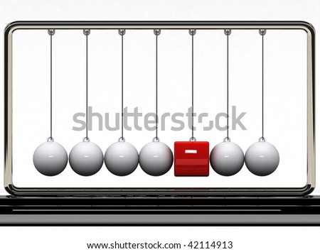 Are you different?  Balancing balls Newton's cradle with a red box. - stock photo