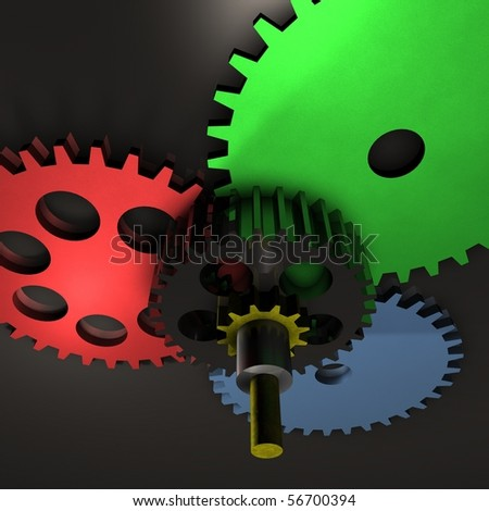 Are you looking for a 3D rendered Gear with metal balls? - stock photo