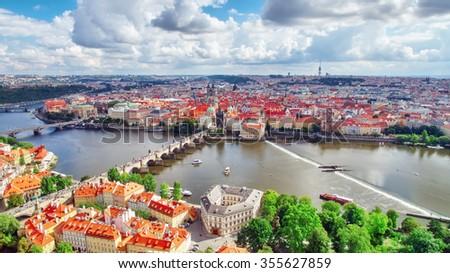 Area Lesser Town of Prague(Mala Strana), near the church Saint Vitus, Ventseslaus and Adalbert. Czech Republic. - stock photo