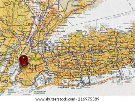 Area map of New York City - stock photo
