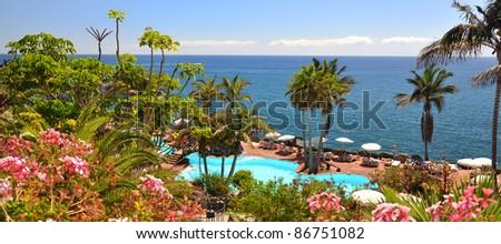 Area of a luxury resort against Atlantic ocean. Tenerife island, Canaries - stock photo