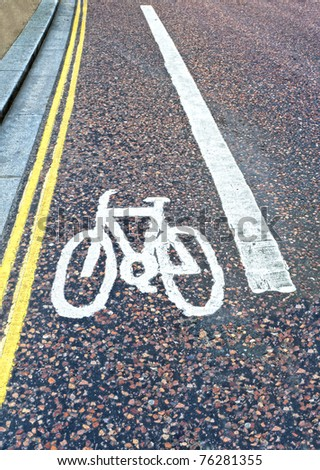 area of road sectioned off for cyclists to be safe - stock photo
