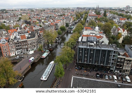 Areal view of Amsterdam - stock photo