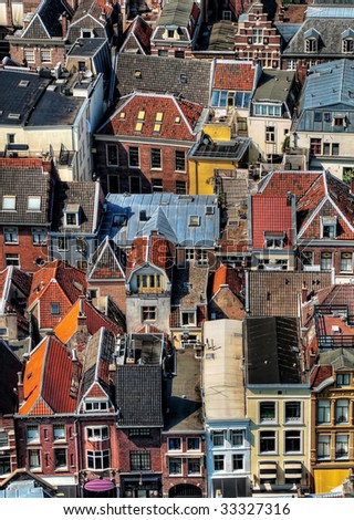 Areal view of the colorful Utrecht city in the Netherlands from the Dom tower  hdr processed - stock photo