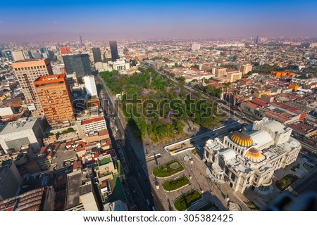 Areal view of the Palace of fine arts, central Alameda park and downtown Mexico capital city from Torre Latinoamericana to the north west direction - stock photo