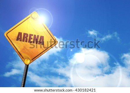 arena, 3D rendering, glowing yellow traffic sign  - stock photo
