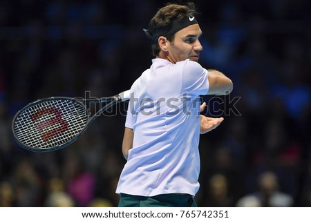 Arena O2, London, UK – November 18, 2017: Professional Tennis player Roger Federer from Swiss playing semi-final match against David Goffin from Belgium during the Nitto ATP at O2 indoor Arena, London