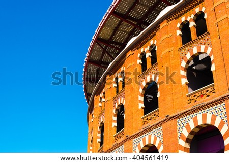 arenas de barcelona - old bullfighting arena in barcelona - stock photo