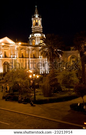 Arequipa Cathedral at Night - stock photo