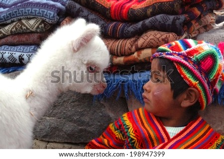 AREQUIPA, PERU - JANUARY 6: Unidentified Quechua little boy in traditional clothing with baby llama on January 6, 2008 in Arequipa, Peru. - stock photo