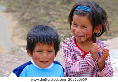 AREQUIPA, PERU - JANUARY 6: Unidentified Quechua little kids on January 6, 2008 in Arequipa, Peru.