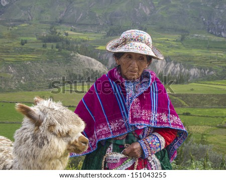 AREQUIPA, PERU - MAR 12: Unidentified Quechua indian woman with her Alpaca on Mar 12, 2011 in Colca canyon, Arequipa, Peru. Colca canyon is home to the Andean Condor. - stock photo