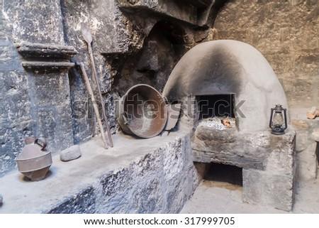 AREQUIPA, PERU - MAY 30, 2015: Kitchen in Santa Catalina monastery in Arequipa, Peru - stock photo