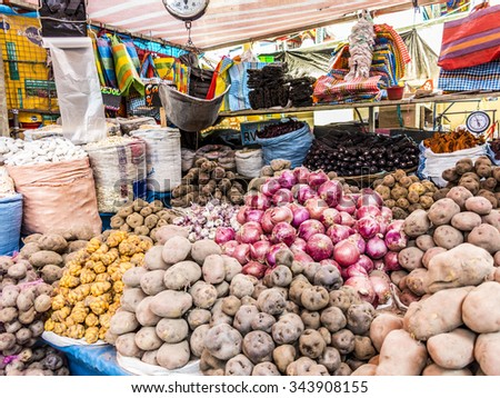 AREQUIPA, PERU - OCT 28, 2015: people sell goods at the central market in Arequipa, Peru. Central market Rio Seco is the biggest in Arequipa. - stock photo