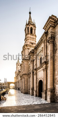 Arequipa, Peru: View of the Cathedral main church at the afternoon. - stock photo