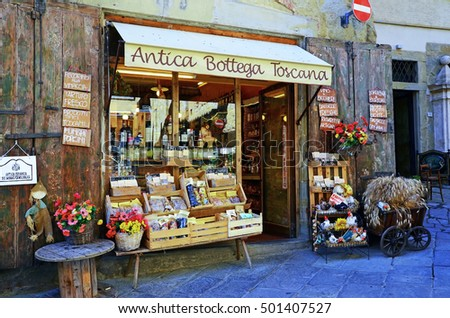 AREZZO, ITALY   AUGUST 26   Typical Grocery Wine Products, Pasta, Meat Etc