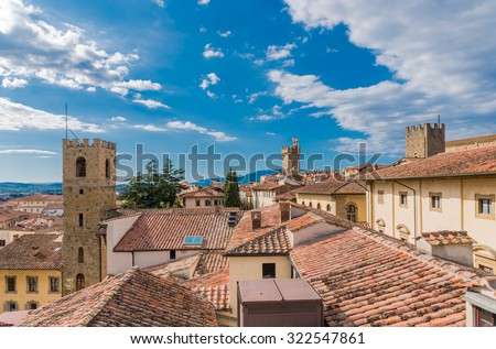Arezzo view from the bell tower of the Church of Santa Maria della Pieve - stock photo