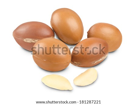 Argan fruit and seeds on white background - stock photo