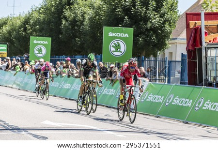 ARGENTAN, FRANCE - JUL 10:Luis Angel Mate Mardones of Cofidis Team leads the breakaway and win the intermediate sprint in Argentan during Tour de France on 10 July 2015. - stock photo