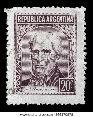 ARGENTINA - CIRCA 1959: A stamp printed Argentina in shows portrait of Admiral Guillermo Brown (1777-1857) founder of the Argentine navy, circa 1959 - stock photo
