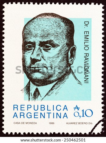 """ARGENTINA - CIRCA 1986: A stamp printed in Argentina from the """"Personalities """" issue shows Dr. Emilio Ravignani, historian, circa 1986.  - stock photo"""