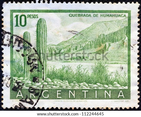 ARGENTINA - CIRCA 1955: A stamp printed in Argentina shows Cliffs of Humahuaca, circa 1955.