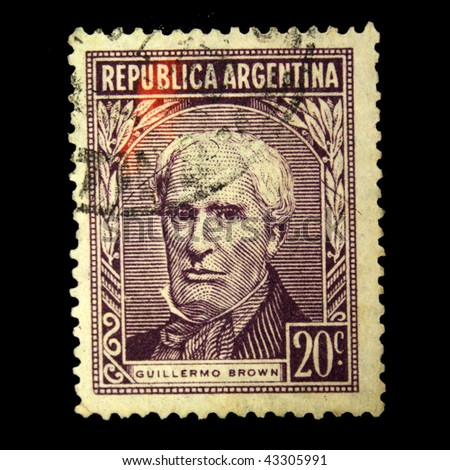 ARGENTINA - CIRCA 1891: A stamp printed in Argentina shows Guillermo Brown, circa 1891