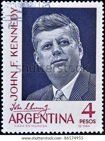 ARGENTINA - CIRCA 1964: A stamp printed in Argentina shows president John F Kennedy, circa 1964 - stock photo