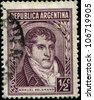 ARGENTINA - CIRCA 1935: A stamp printed in the Argentina, depicts a lawyer, politician and General Manuel Belgrano, circa 1935 - stock photo