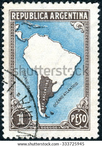ARGENTINA - CIRCA 1937: A stamp printed in the Argentina, depicts Map of South America (without borders), circa 1937 - stock photo