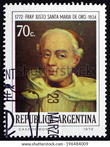 ARGENTINA - CIRCA 1974: a stamp printed in the Argentina shows Brother Justo Santa Maria de Oro, Theologian, Patriot and First Argentine Bishop, circa 1974 - stock photo