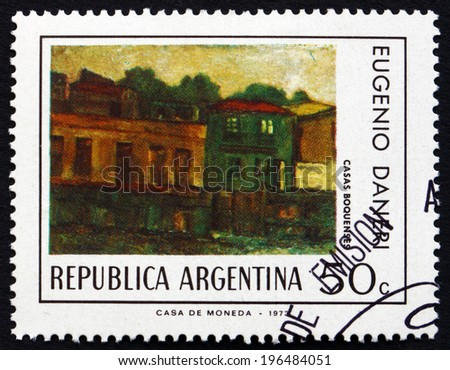 ARGENTINA - CIRCA 1974: a stamp printed in the Argentina shows Houses in Boca District, Painting by Eugenio Daneri, circa 1974