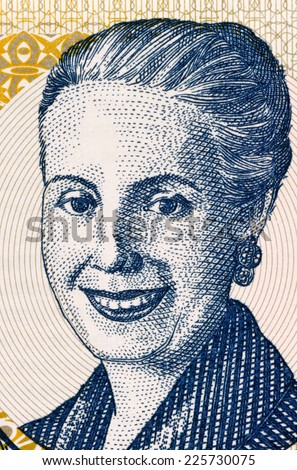ARGENTINA - CIRCA 2001: Eva Peron (1919-1952) on 2 Pesos 2001 Banknote from Argentina. Second wife of President Juan Peron.