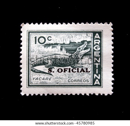 ARGENTINA - CIRCA 1940s: A stamp printed in Argentina shows crocodile, circa 1940s