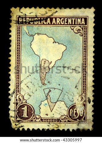 ARGENTINA - CIRCA 1950s: A stamp printed in Argentina shows the contours of the country on the map, circa 1950s