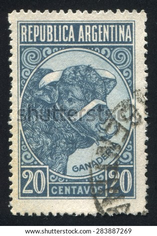 ARGENTINA - CIRCA 1935: stamp printed by Argentina, shows Bull Cattle Breeding, circa 1935