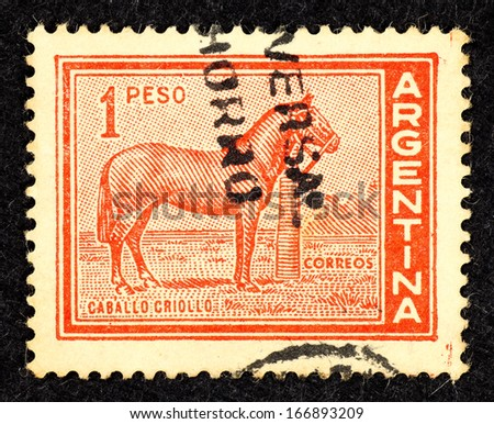 ARGENTINA - CIRCA 1959: Stamp printed in Argentina with the image of the Caballo Criollo breed which is the native horse of Argentina, circa 1959.  - stock photo