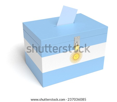 Argentina Flag Ballot Box. Isolated white background. 3D Rendering. - stock photo