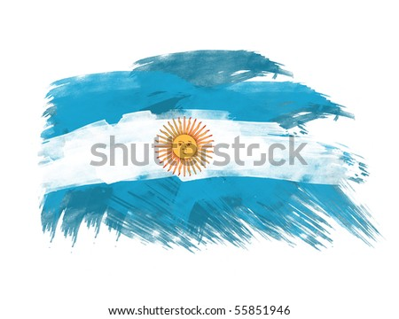 argentina flag in brush strokes in white background - stock photo