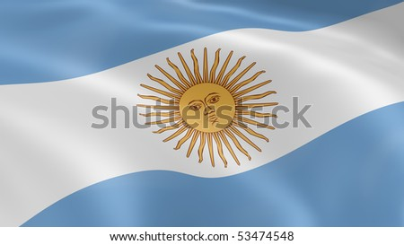 Argentina flag in the wind. Part of a series. - stock photo