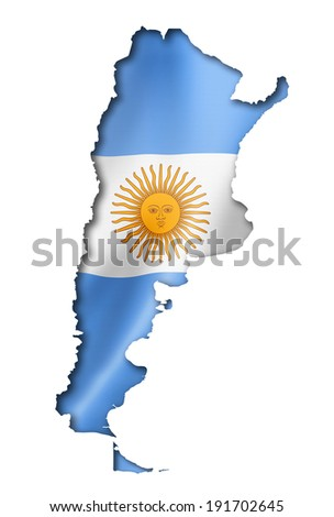 Argentina flag map, three dimensional render, isolated on white - stock photo