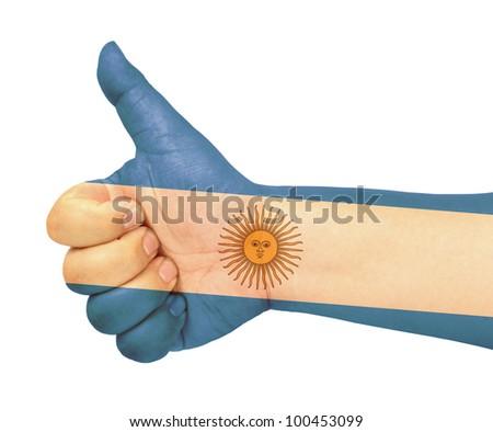 Argentina flag on thumb up gesture  like icon - stock photo