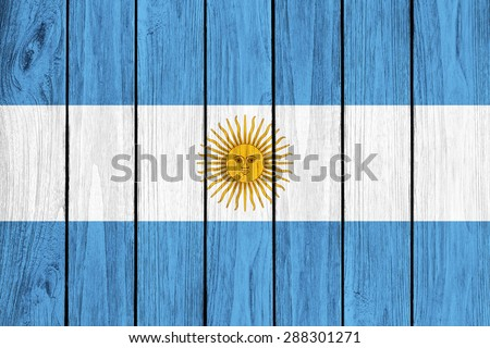 Argentina  flag painted on old wood plank background - stock photo