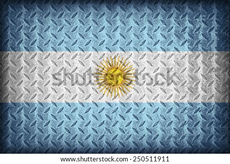 Argentina flag pattern on the diamond metal plate texture ,vintage style - stock photo